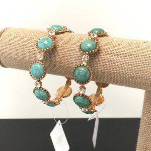 Set of 2 gold turquoise bracelet w/rhinestones